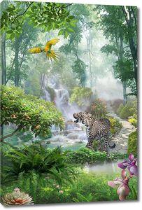Гепард и попугай в лесу у водопада