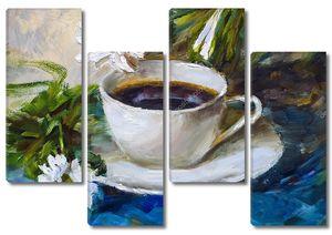 Натюрморт, чашка кофе с ромашками