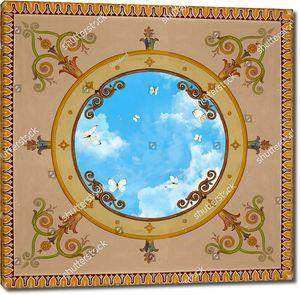 Классический нарисованный узор с небом и бабочками в центре