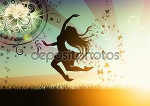 Танцы девушка иллюстрация с бабочкой