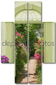 вид через арочные двери, Цветущие рододендроны