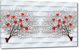 Ветки деревьев с красным сердцем