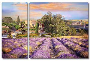 Фиолетовые цветочные поля рядом с городом