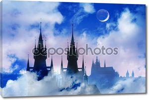 Прага силуэт высокой секции Тынский храм