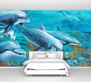 Дельфины в  коралловых рифах
