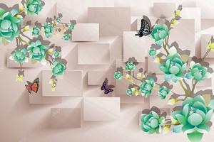 Прямоугольники, зеленые цветы и бабочки