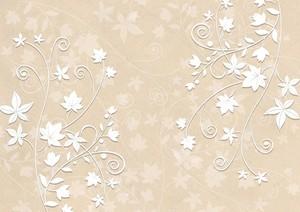 Бежевый фон, белые листья на ветках