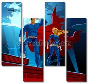 Пара супергероев. Мужские и женские супергероев