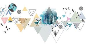 Треугольная абстракция с оленем