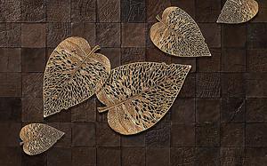 Золотые листья по плитке