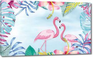 Фламинго в рамке из листьев