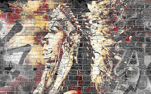 Девушка-индеец. Граффити