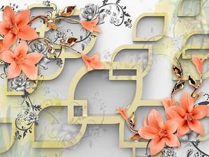 Рамы в виде капли, розовые лилии на золотых стеблях