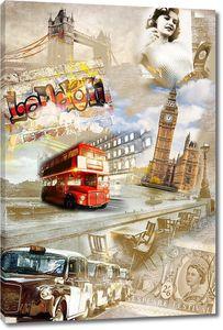 Коллаж с различными достопримечательностями Лондона