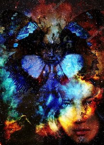 Beautiful Painting Goddess Woman and butterfly. Color space background and stars.
