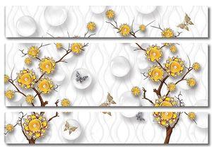 Цветы на ветке, стеклянные шары