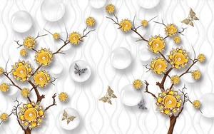 Золотый цветы на ветке, стеклянные шары