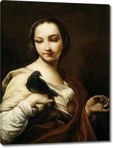 Джузеппе Креспи. Девушка с черным голубем