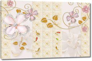 Цветы с перламутровыми лепестками и золотыми листьями