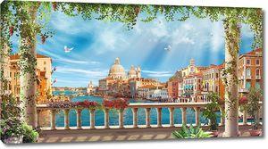 Вид с террасы на солнечную Венецию