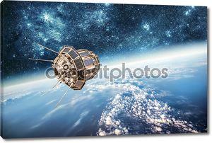 Космический спутник над на планете Земля