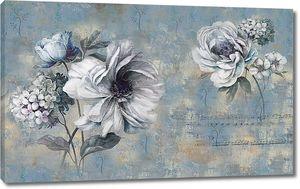 Цветы нарисованные на стене