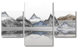 Разноцветные горы отражаются в гладкой воде