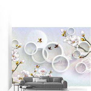Белые позолоченные цветы, летающие птицы