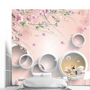 Белые кольца, с розовыми цветами, два лебедя на воде