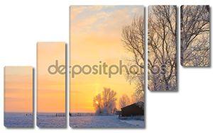 Ферма в белый зимний пейзаж