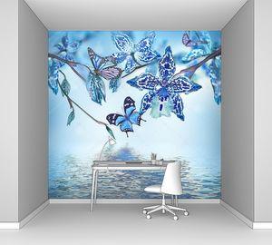 Тропических орхидей и бабочки