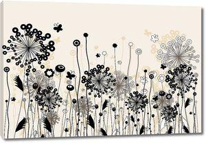 Абстрактные одуванчики с бабочками