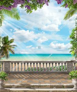 Терраса с видом на море и голубое небо