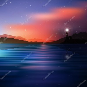 Абстрактные моря фон с горы и маяк
