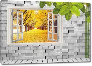 Осенняя аллея из открытого окна