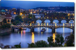 Прага в ночное время
