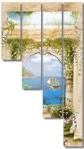 Терраса с видом на море и корабль