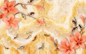 Мраморный фон, золотые и серебряные рыбы, цветки розовые позолоченная