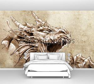 Искусство татуировки, эскиз гнев Средневековый дракон