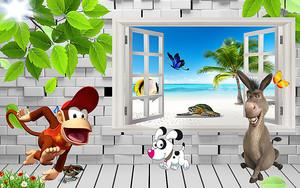 Осел и обезьянка у окна