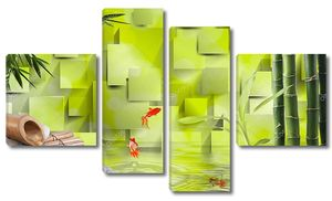 3D зеленый фон, бамбук, вода, Золотая рыбка