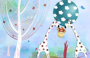 Жирафы с воздушным шаром