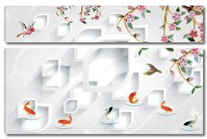 Белые рамки в форме капли, золотая и серая рыба