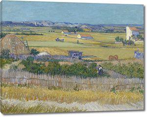 Ван Гог. Пейзаж со сбором урожая и голубой повозкой