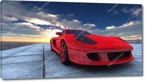 Спортивный автомобиль на фоне заката