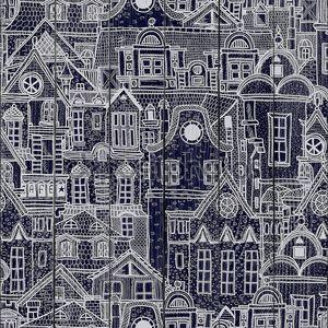 Рисованной бесшовный паттерн с Старый город