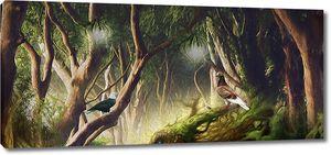 Голуби в сказочном лесу