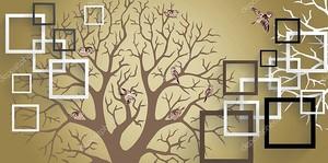 Силуэт дерева с квадратами