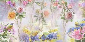 Розы, цветы и птички