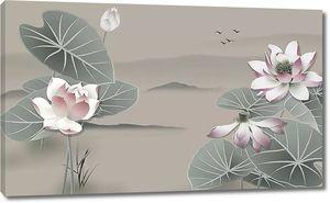 Цветы лотоса на фоне холмов